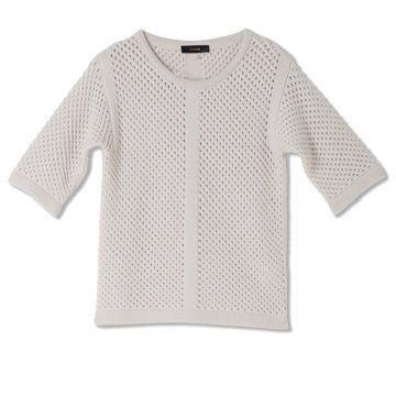 迦达白色针织羊毛衫