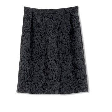迦达黑色提花半身裙