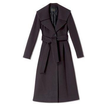 迦达黑灰色长款外套