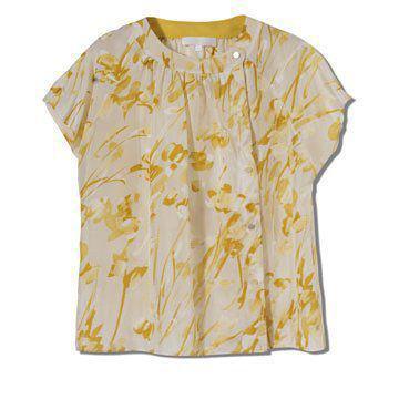 黄色印花花纹收袖上衣