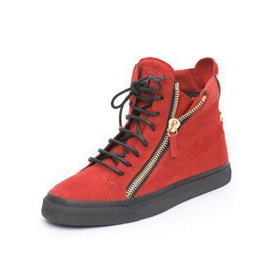 朱红色麂皮平底鞋