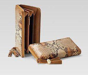蜂蜜色蟒蛇皮全拉链式皮夹