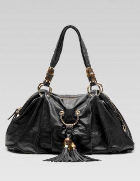 黑色Bamboo Beads中号手提包