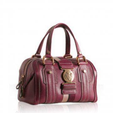 紫红色皮革女飞行员中号波士顿式手提包