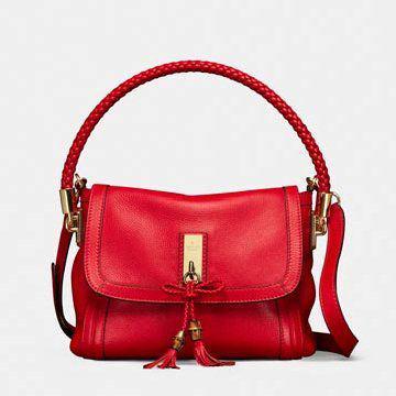 红色牛皮手提包