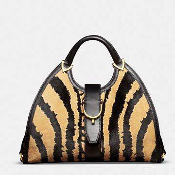 黄色豹纹牛皮手提包