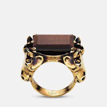 金属棕宝石指环