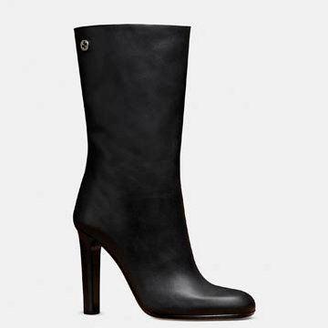 黑色牛皮中靴