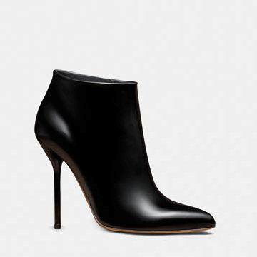 黑色牛皮踝靴