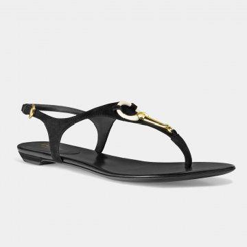 黑色平底凉鞋