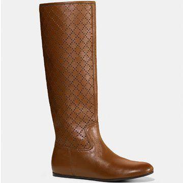 镂空浅棕长靴