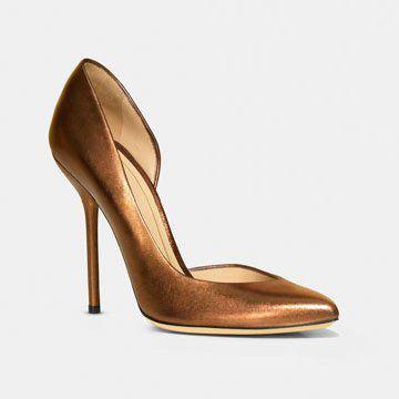 金属色皮质高跟鞋