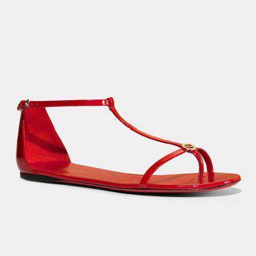 红色缠带平底凉鞋