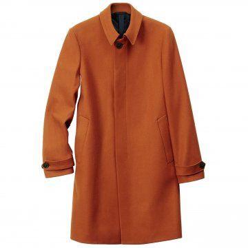 橙色长款大衣