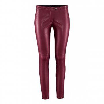 酒红色修身长裤