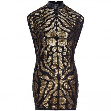 黑金色亮片连衣裙