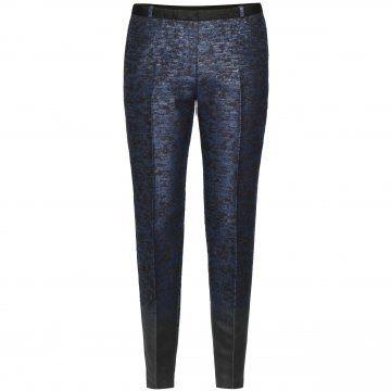 蓝色暗纹锥形裤