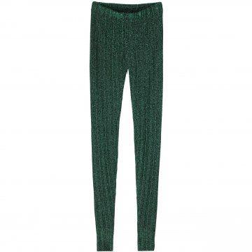 墨绿色针织长裤