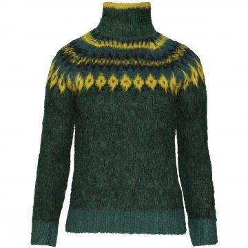 墨绿色高领毛衣