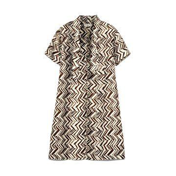Marni at  黑白几何纹丝质短袖连衣裙