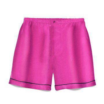 Marni at  丝质纯枚红色短裤