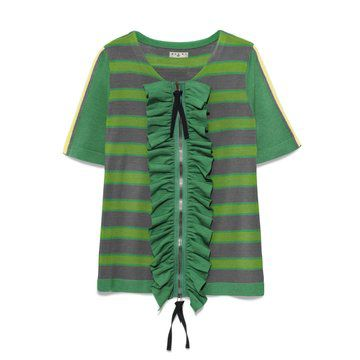 Marni at  绿色开襟绒线衫