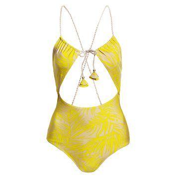 明黄色连体泳衣