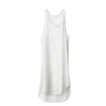POP-UP系列白色网眼背心连衣裙