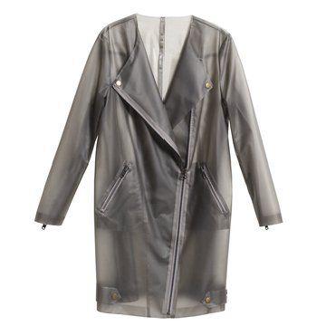 灰色透明长款机车外套