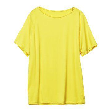 明黄色圆领宽松T恤