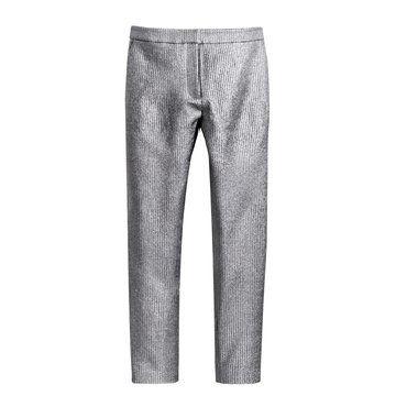 灰色条纹感修身长裤