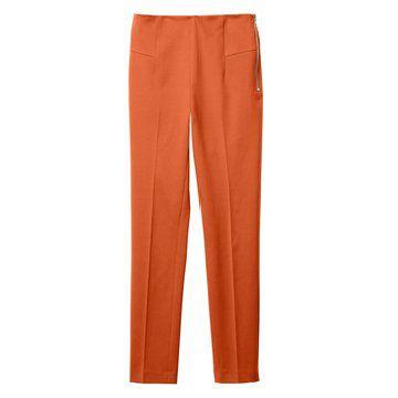橘红色直筒西装款长裤