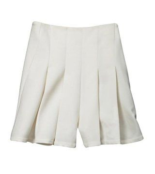 白色压褶短裤