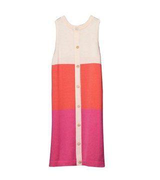 针织色块开身无袖连身裙