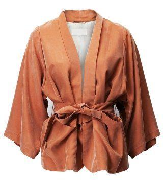 胡桃色丝质开身束腰上衣