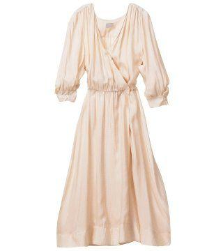 奶油色中袖束腰连衣裙