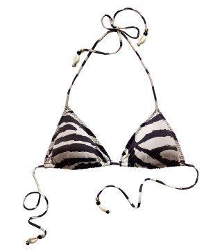 珠饰系带条纹泳衣