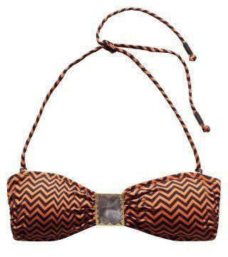 金属扣饰条纹泳衣