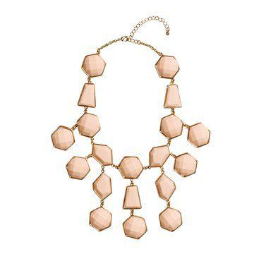 裸粉色几何形夸张项链