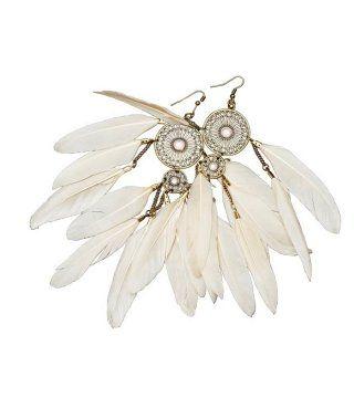 白色羽毛耳环