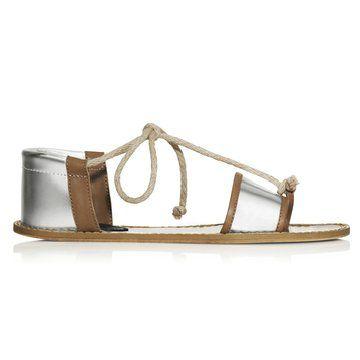 银色平底系带凉鞋