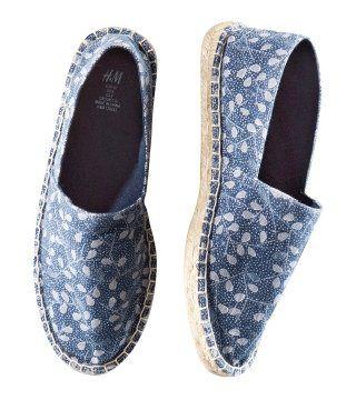 碎花布面平底鞋