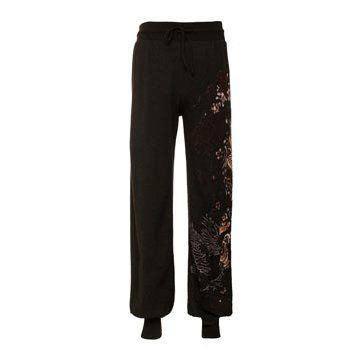 黑色刺绣长裤