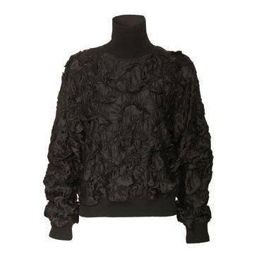 黑色褶皱饰花卫衣