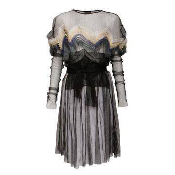 黑色网纱连衣裙