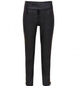 黑色皮质长裤