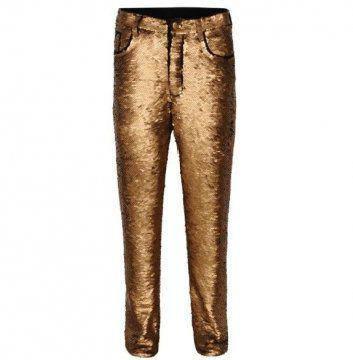 金色亮片长裤