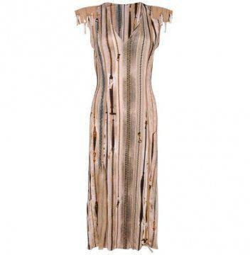 条纹拉链连身裙