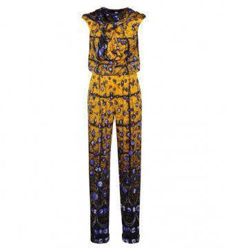 黄色印花连身衣裤