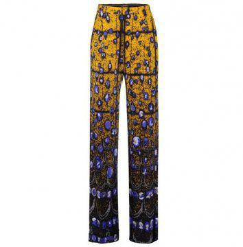 黄色印花长裤